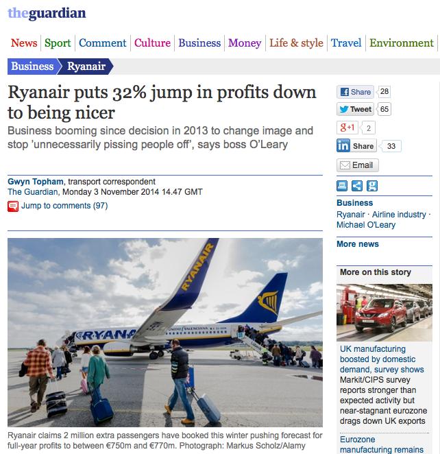 Ryanair being nice