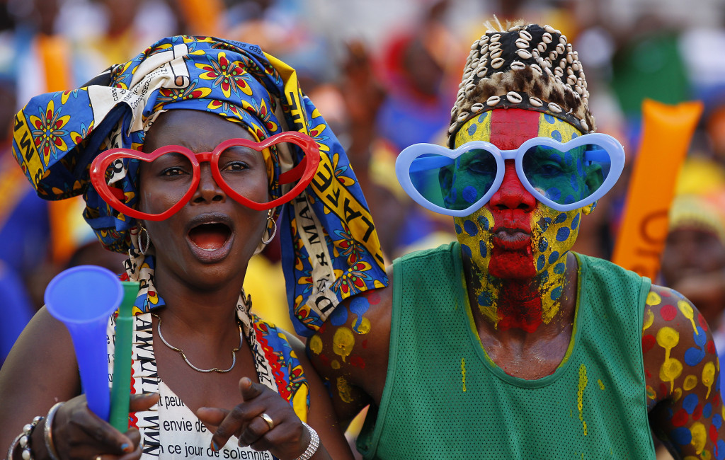 Democratic Republic of Congo soccer fans gesture ahead of  their African Nations Cup Group B soccer match against Ghana in Port Elizabeth
